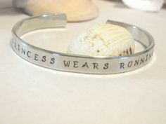This Princess Wears Running Shoes, Hand Stamped Bracelet, Personalized Jewelry, Personalized Bracelet on Etsy, $8.00