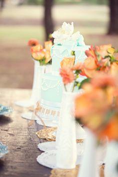 tiffany blue cake and orange flowers