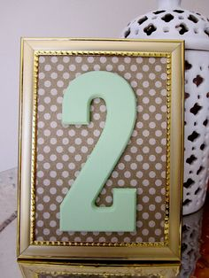 Mint & Gold Wedding Table Numbers with Frame // TheGarrettGroup  LIKE us on Facebook: www.facebook.com/thegarrettgroup12