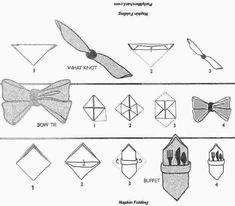 Napkin folding instructions; What Not, Buffet, and Bow Tie styles
