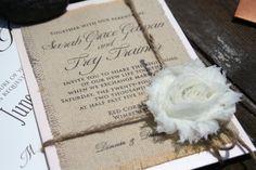 Burlap printed wedding envelopes
