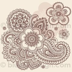 Huge Ornate Henna Paisley Doodle Tattoo Flower and Swirls by blue67design by blue67design, via Flickr