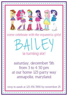 My Little Pony Equestria Girls birthday invitation