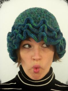 Crocheted Hat with Ruffles