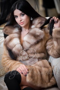 Pastel Mink Coat with English Collar of European Sable - Style 01-19 from Olga Franchuk