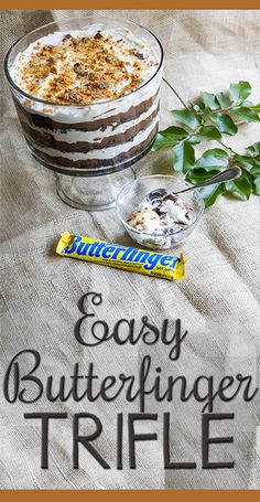 Easy, crowd-pleasing triple chocolate Butterfinger Trifle recipe! Magical combination of creamy with a little Butterfingery crunch. Perfect for summer potlucks and barbeques!