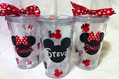 Minnie Mouse or Mickey Mouse Personalized Custom Acrylic Tumbler. $13.00, via Etsy.
