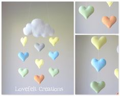 Baby mobile  crib mobile  Heart mobile  cloud by LoveFeltXoXo