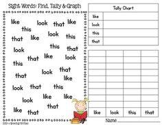 FREEBIE Sight Word Find, Tally & Graph by Growing Firsties math, sight, classroom, idea, school, literaci, graph, read, kindergarten
