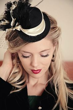 Steampunk hat in black and ivory lace. by TutusChicBoutique