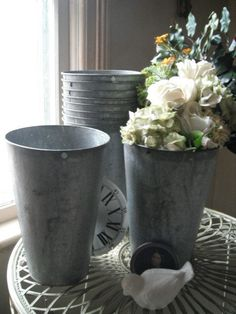 Galvanized buckets wedding decor -this would look great as aisle runners