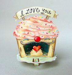 DIY Download & Tutorial - Heart Cupcake Paper Theatre. Cute!