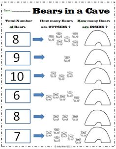 Emergent & Partitioning of Numbers  Bears in a Cave - Worksheets for the classroom. classroom, math magic, kindergarten math, cave activities, bear activiti, emerg, partitioning numbers, math activ, math thing