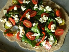 roasted veggies and goat cheese pizza