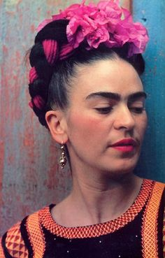 Frida Kahlo with flowers woven in her hair