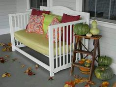 Old crib turned bench