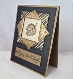 Birthday card masculine elegant stamped blank black gold leaf origami paper frame handmade stationery greeting card. $5.00, via Etsy.
