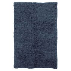 Wool Flokati shag rug in denim. Handmade in the USA.  $54  2.4 x 4.6