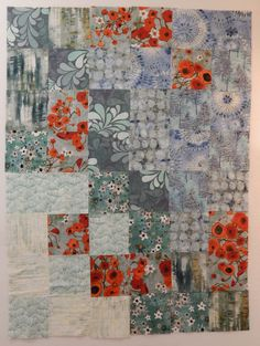 modern one patch quilt top with interesting fabrics at Debby Quilts