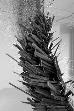 chicken wire & wood sculpture