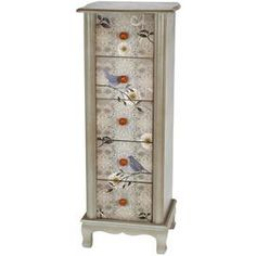 """Wood accent chest with red floral drawer pulls and a perched bird display.Product: Accent chestConstruction Material: WoodColor: Gray Features: Five drawersDimensions: 43.5"""" H x 17"""" W x 14"""" DCleaning and Care: Wipe clean with a dry cloth"""