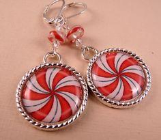Christmas Earrings Christmas Jewelry Tile by bluerosebeadery