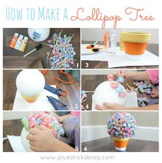 How to make a lollipop tree: great gift for a teacher's desk or party too!