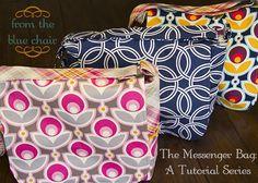 blue chair, sew, messeng bag, free tutori, messenger bags, chairs, bag tutorials, blues, diy messenger bag tutorial