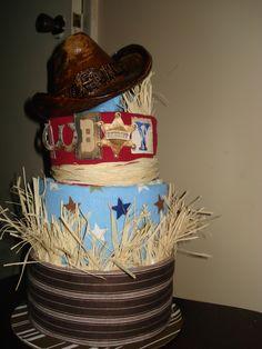 3 tier Cowboy Diaper Cake cowboy diaper cake, diaper cakes