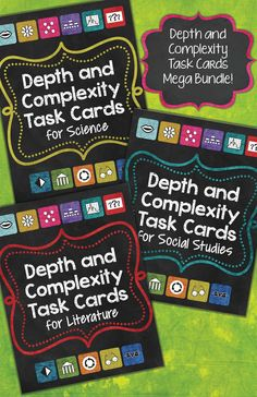 Mega Bundle: Depth and Complexity Task Cards for Science, Social Studies, and Literature! 144 pages with 264 task cards.