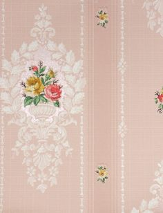 vintage wallpaper, pretty pink with roses