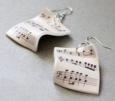 Music Earrings - Sheet music jewelry - Free Shipping