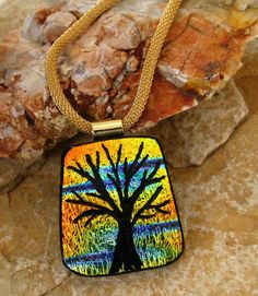 Tree of Life Dichroic Fused Glass Hand Etched  Pendant by GlassCat, $30.00