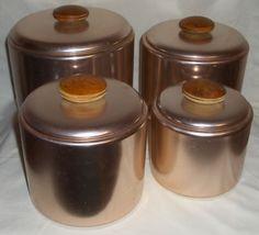 4 Piece Retro 1960's MIRRO Aluminum Copper Canister Set #crowsnest324