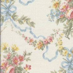 Blossoms and Bows Print Upholstery Fabric by the Yard
