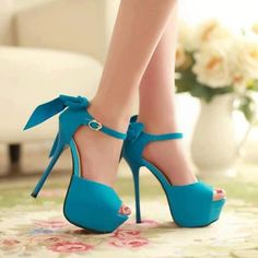 #blue #shoes #shoes #blue #ribbons I just died, I seriously just died. LOOK AT THESE SHOES! cute Perfection. I'm loving the crazy over the top shoes with simple dress look :)