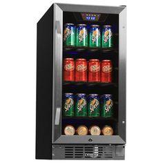 80 Can Built-In Beverage Cooler - Black/Stainless Steel- EdgeStar