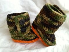 Crochet Baby Booties Baby Camo Boots by cmiron on Etsy Soo cute for a baby boy