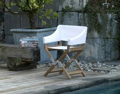 Sundance outdoor folding directors chair Paolo Golinellli DePadova contemporary teak seating