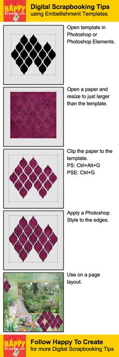 Digital Scrapbooking Tips - How to use Embellishment Templates. From http://happytocreate.com