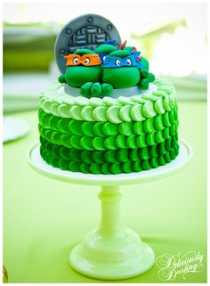 If my grandson is ever into Ninja Turtles around his Birthday...  Deliciously Darling | Teenage Mutant Ninja Turtle Birthday Party | Cake
