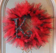 Red and Black Tulle Wreath with the letter K