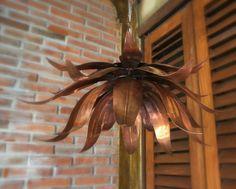 handmade copper lotus pendant