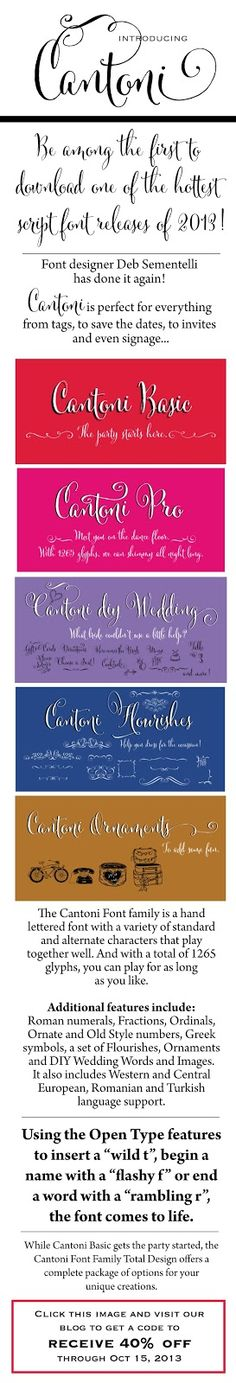 CT-Designs Calligraphy and Wedding Stationery: Introducing the CANTONI font family by Deb Sementelli