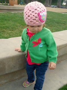 Cutest!! CROCHET BEANIE - light pink with owl detail, 9-12 mths via Etsy.