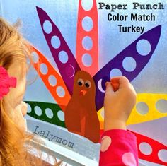Paper Punch Color Match Turkey- A #Thanksgiving Fine Motor Activity for Kids