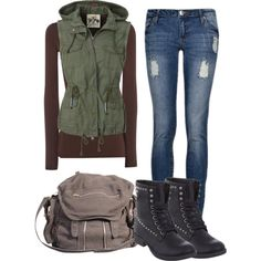 """""""Olive green casual outfit"""" by laura-blakney on Polyvore military chic, jeans, boots, canvas bag backpack, vest hood, long sleeve tee, brown, olive green, army, hunting, hiking, camping"""