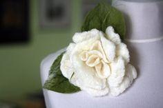 Wedding white flower women brooch wedding pin by KnitwearFactory, $20.00