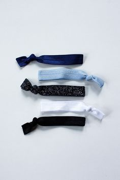 elastic hair ties -- blue sparkle palette / etsy