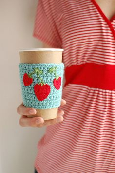 Coffee cozy Aqua with Strawberries by The Cozy by @Jenny P. $16.00 USD, via Etsy.
